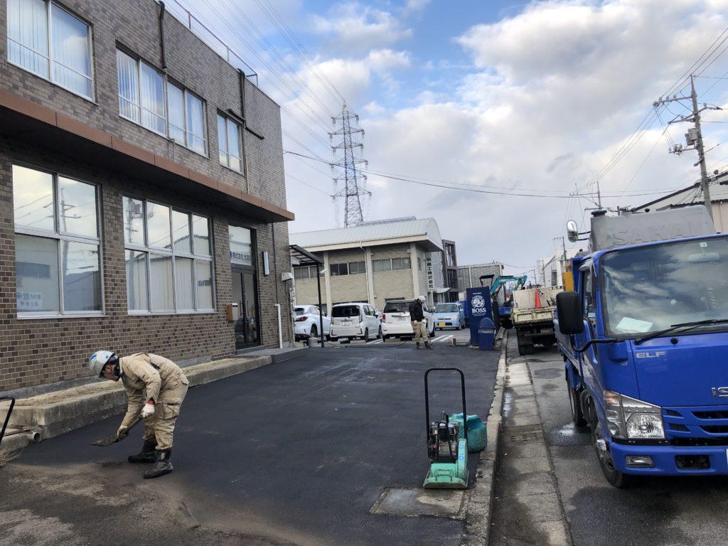 岡山で舗装の工事写真